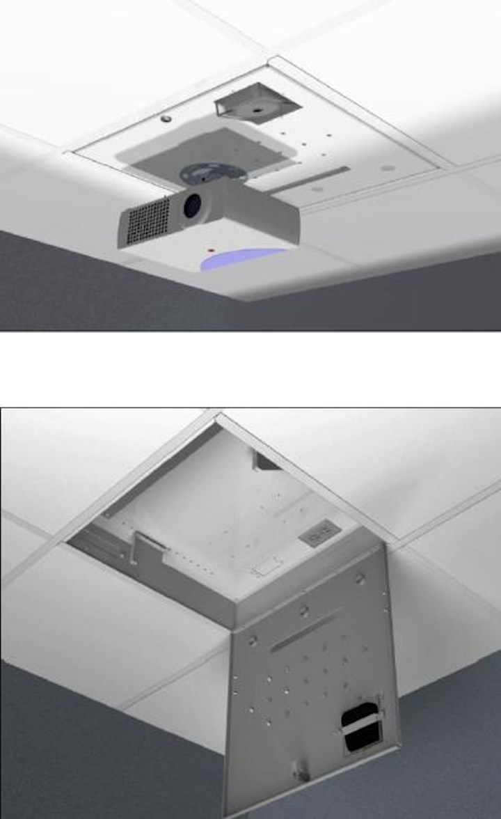 Oberon's Model 1074 Multimedia Gateway Enclosure mounts networking equimpent and most universal projector mounts.