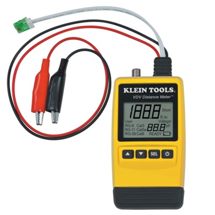The VDV Distance Meter from Klein Tools measures cable lengths, locates faults and simplifies cable inventory.