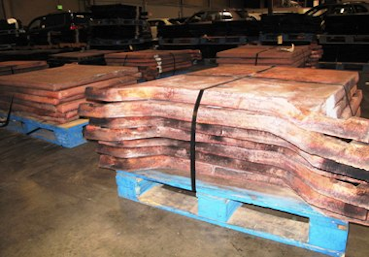 U.S. Customs and Border Protection seized 359 stolen copper ingots, weighing a total of 144 tons and valued at $1.2 million, from six containers at or recently departed from the Los Angeles/Long Beach seaport. (Photo provided by U.S. Customs and Border Protection.)
