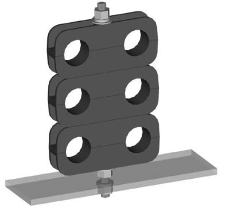 The CB-400T mini coax support block for Times Microwave's LMR-400 cable.