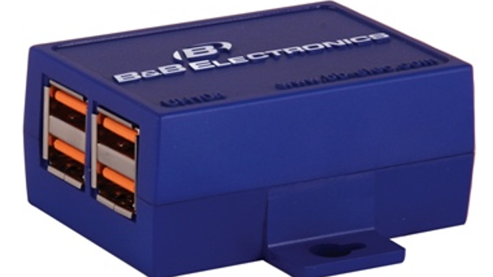 B&B Electronics Manufacturing Co.'s UH104 provides downstream devices with 100 mA of power, and USB 2.0 480-Mbit/sec connectivity.