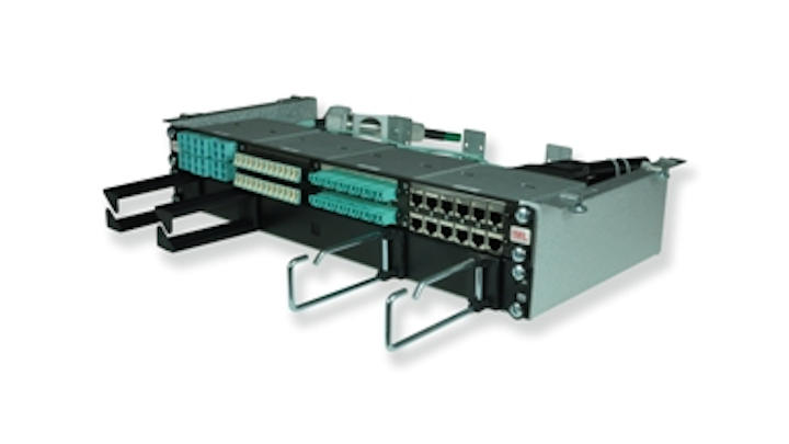 trans data elektronik's tML-Duo 19-inch cabinet attaches directly underneath a mesh cable tray.
