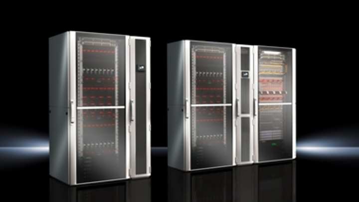 Rittal's LCP DX cooling solution is available for in-rack (pictured at left) and in-row (pictured at right) cooling approaches.