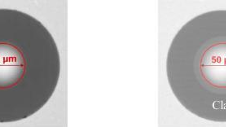 Taken from a recent technical report issued by OFS, this image shows a standard OFS LaserWave 50-micron fiber endface (left) and a LaserWave Flex 50-micron fiber endface (right), which exhibits the 'halo effect' created by the trench that surrounds the fiber core.