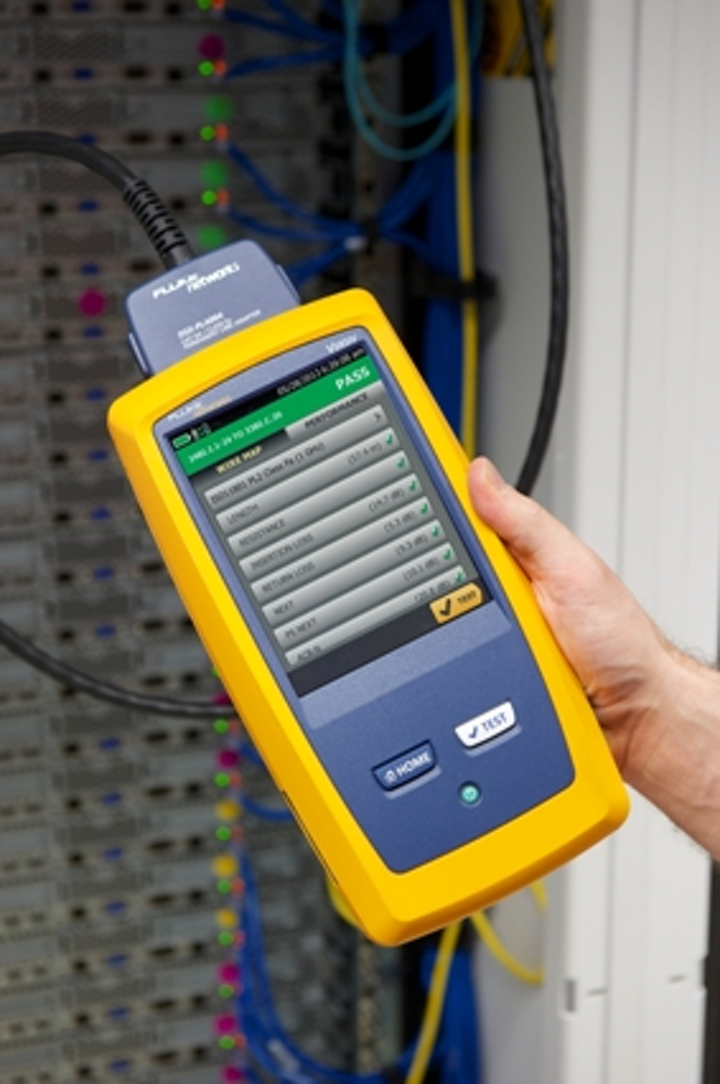 Equipped with just three buttons - power on/off, home, and test - the main unit of the Versiv acts as a chassis housing test modules inserted in the rear of the unit.