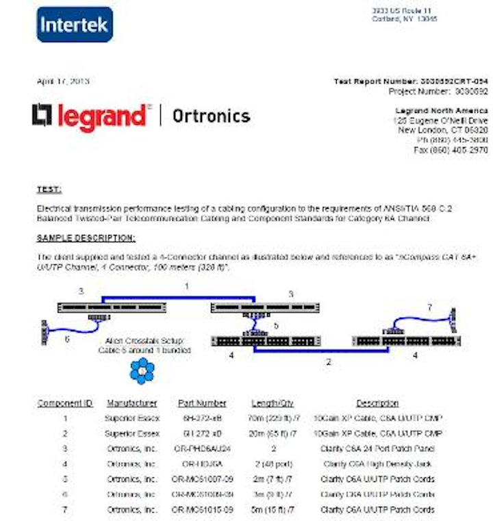 nCompass, the cabling alliance between Legrand Ortronics and Superior Essex, has made ETL test reports available on its website. Shown here is the first part of ETL's report on the nCompass Category 6A 4-connector, 100-meter channel.