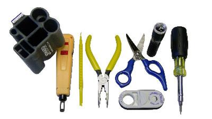 Components of Jonard Industries' TK-17 Punchdown Tool Kit include a molded pouch, punchdown tool, punchdown blades, spudger, long-nose plier, scissor, cable stripper, LED light and 6-in-1 screwdriver.