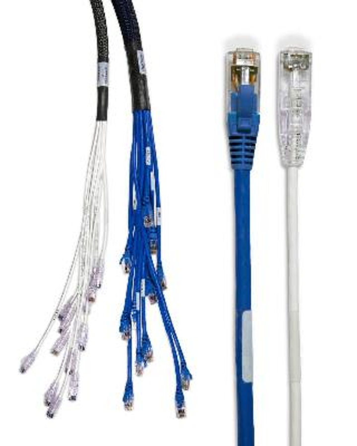 CablExpress's mini 6 trunk and individual breakout cables, shown in white, are slimmer than older-generation Category 6 media, shown in blue.