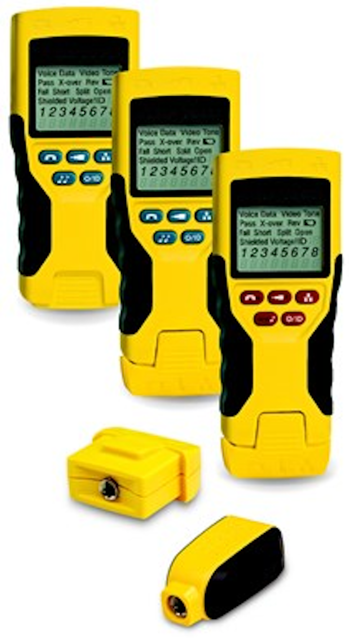 Klein Tools' Scout Pro 2 Series of voice-data-video testers (background) are compatible with the company's Test-n-Map remotes (foreground).