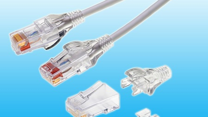 Small-diameter Category 6 RJ45 plugs from Stewart Connector streamline data center patch cables
