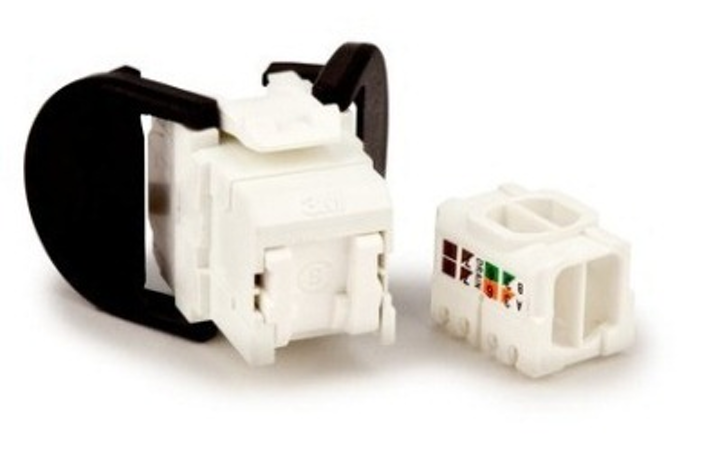 3M's Category 5e and Category 6 RJ45 UTP jacks feature a tool-less installation, three cable entry points, and integral shutters.