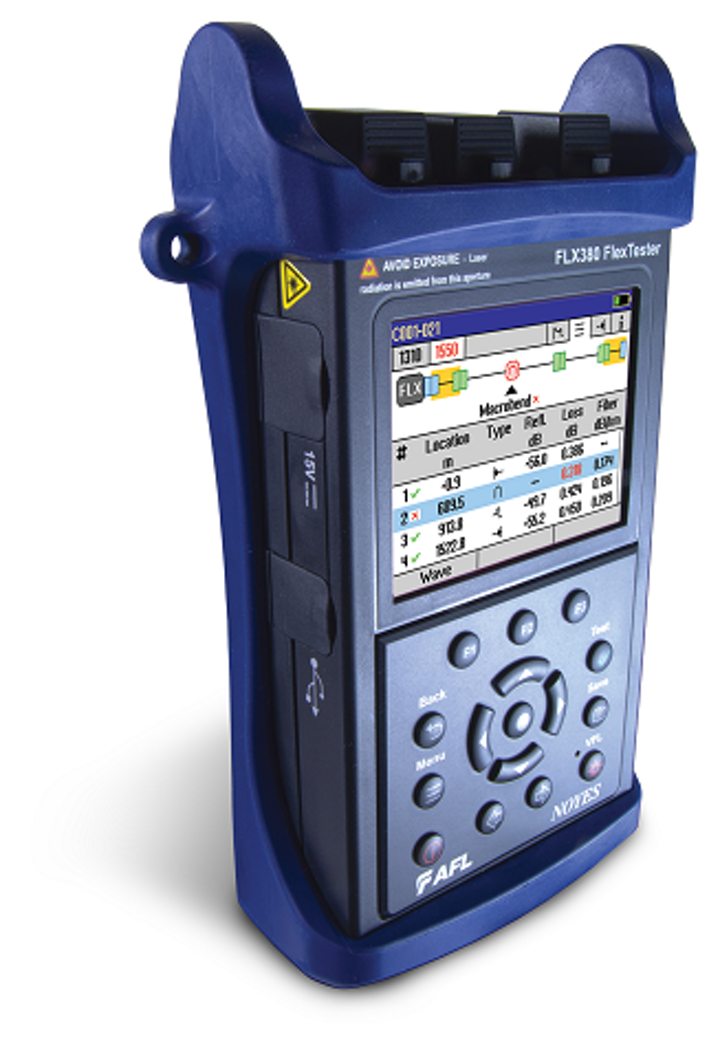 OTDR and optical loss test set's new display key for ID'ing connectors, plus fiber splices, ends, macrobends, splitters