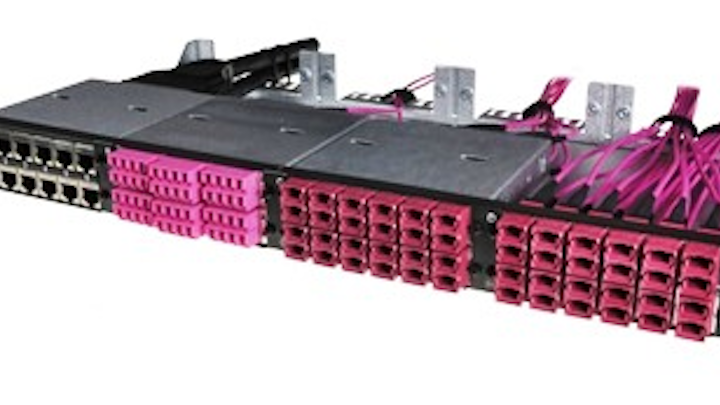 In trans data elektronik's tML-24 System, the entire rear cabling portion is based on the 24-fiber MPO connector. tde says this setup enables users to protect their investments as they move from 1- or 10-GbE speeds to 40- or 100-GbE.