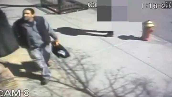 Surveillance shows thief tearing copper ground wiring from Brooklyn cell phone tower