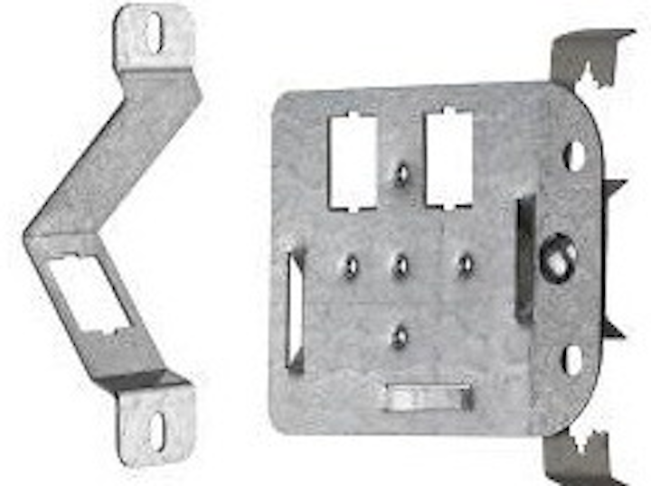 Leviton's QuickPort In-Wall (left) and In-Ceiling (right) Brackets support LAN connections for IP devices in environments where traditional wallplates are not practical. The company says use of the plates enables a permanent link, which is a more-reliable connection than direct-connect plugs.
