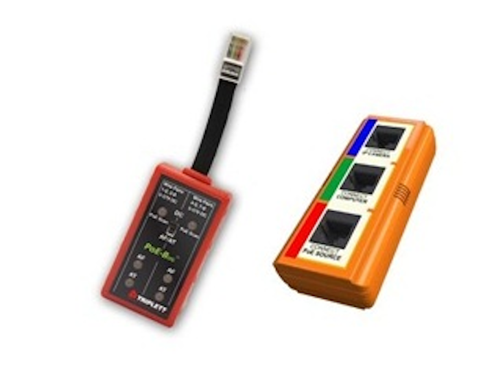 Triplett's PoE-Bug (left) tests RJ45 ports for the presence of PoE, while the IP Answer Stick (right) passes IP power down a data cable to a camera, allowing an installer to align and focus the camera.