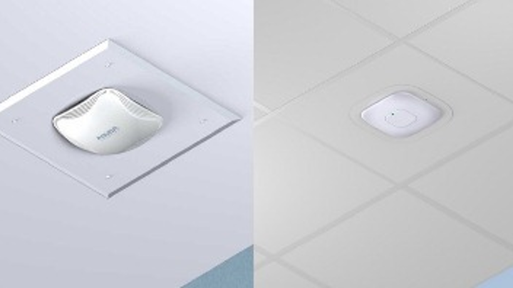 Oberon's Model 1042 and 1043 (left), and its 1044 (right) Wireless Access Point Installation Kits are suitable for use with a variety of vendors' access points. Oberon says the kits makes the installation process as easy to implement as recessed lighting.
