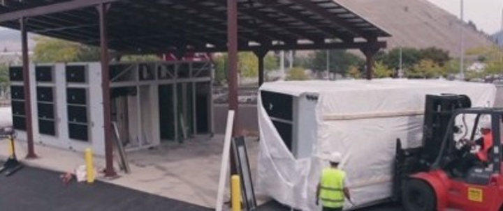 Shown here is the placement of a CommScope Data Center on Demand at the University of Montana. The university says the deployment will greatly improve its data center energy efficiency.