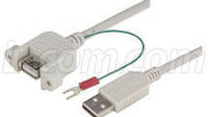 Panel-mount USB cables include ground wires
