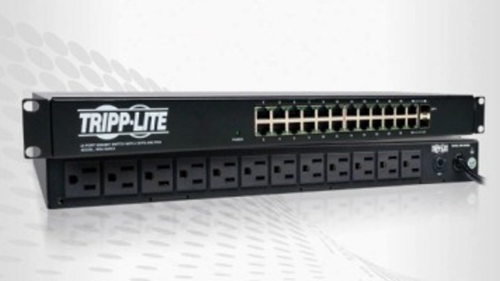 Shown here is Tripp Lite's NSU-G24C2 PDU Ethernet Switch Combo, which offers 12 power outlets and 24 GbE ports in 1U of space. Tripp Lite also offers the NSU-G16, which provides 8 outlets and 16 GbE ports.