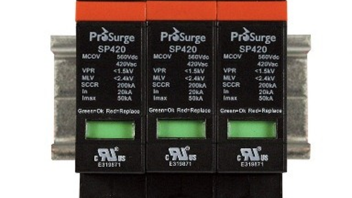 New UL 1449 3rd Edition-recognized surge protection devices from Automation Systems Interconnect are DIN-rail-mountable and pluggable.