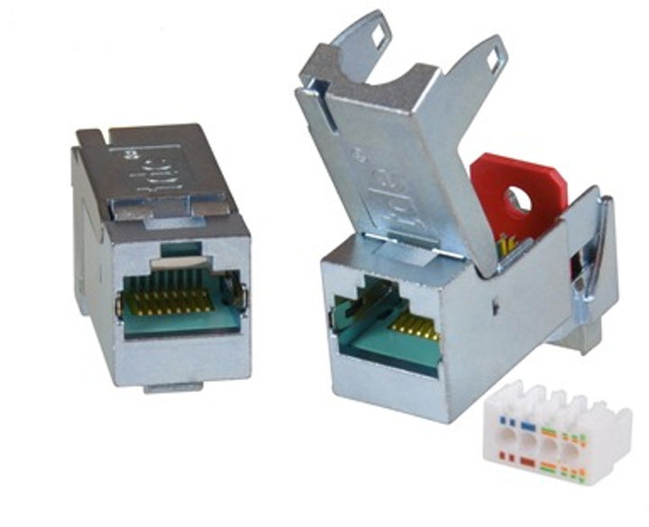 This tool-less Category 6A connector module from trans data elektronik accommodates twisted-pair cables with 24-22 AWG conductors.
