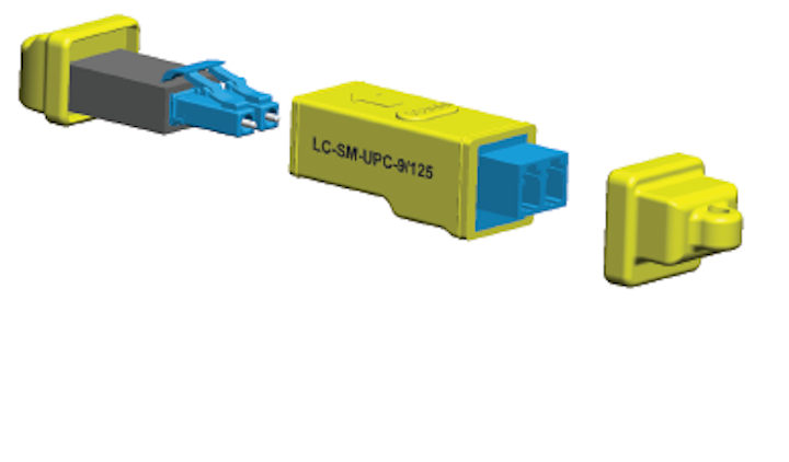 LC fiber looping tool parks, protects exposed fiber ends
