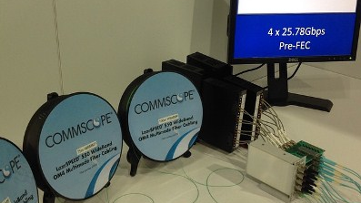 Two founding members of the SWDM Alliance - CommScope and Finisar - demonstrated SWDM (shortwave wave division multiplexing) technology at the 2015 OFC show, using Finisar transceivers and CommScope's LazrSpeed 550 WideBand Multimode Fiber.