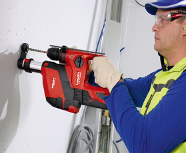 Hilti says that cabling contractors, or contractors in any construction trade, can benefit from the new dust removal system for its TE 4-A18 rotary hammer.