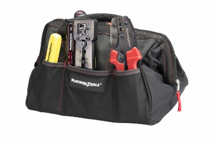 Platinum Tools' Big Mouth Tool Bag includes six pockets for storing cabling installation tools.