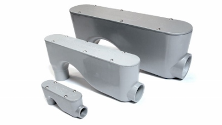 The Smart LB telecom conduit body, manufactured and distributed by Smart Pathways LLC. Smart Pathways LLC has been acquired by Madison Electric Products through its crowdsourced product development platform the Sparks Innovation Center.