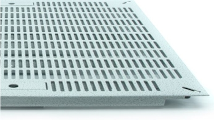 The Triad Floors slotted data center floor panel, pictured here, is one of the many products added to RLE Technologies' portfolio with RLE's acquisition of Triad.