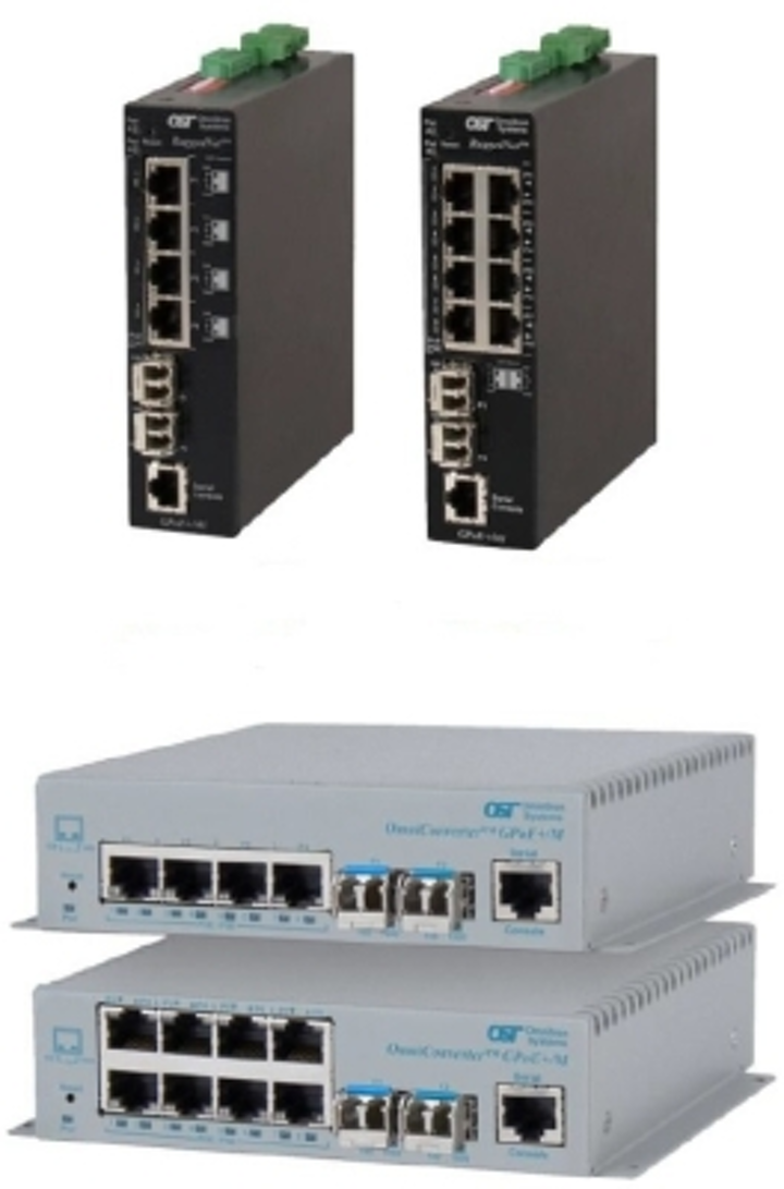 Omnitron Systems recently expanded its product portfolio with the introduction of RuggedNet Industrial PoE fiber switches (top) and OmniConverter Enterprise PoE fiber switches (bottom). Both are available in managed and unmanaged versions, with 4 or 8 10/100/1000 RJ45 ports and 1 or 2 gig-speed fiber ports.
