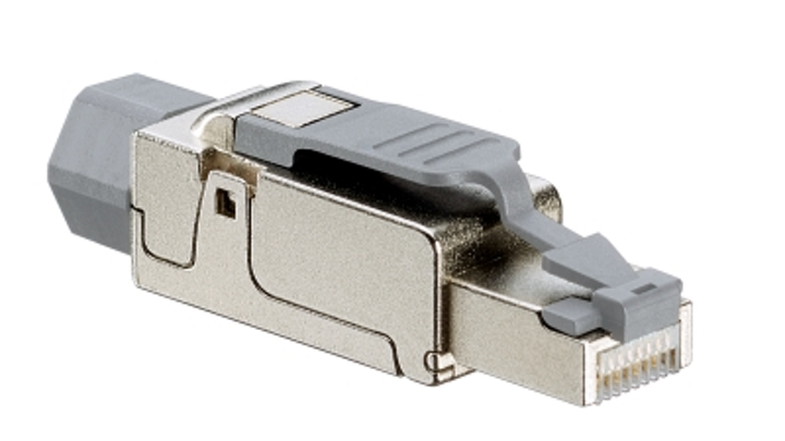 Leviton's Cat 6A Universal Tool-Free Plug supports shielded and unshielded cabling, 10GBase-T, and 100W PoE.