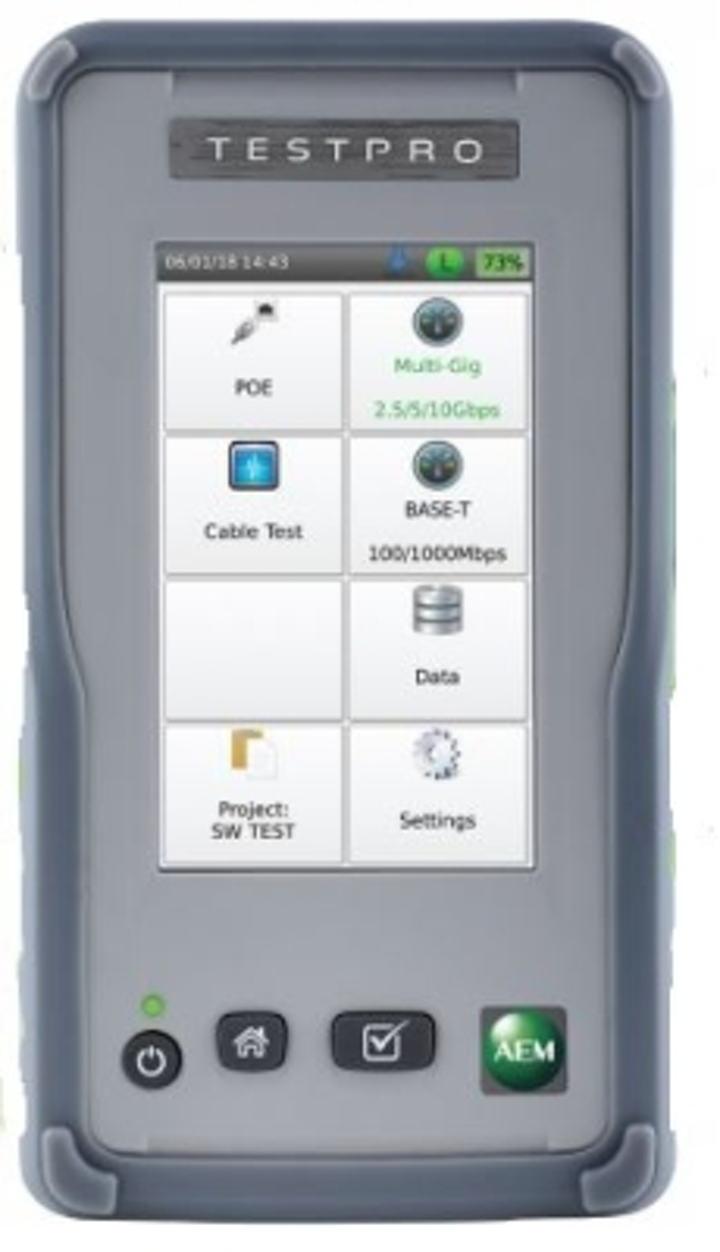 TestPro 100 from AEM tests a cabling link's ability to support 2.5G, 5G, or 10G data rates, and validates Power over Ethernet performance up to 90W.
