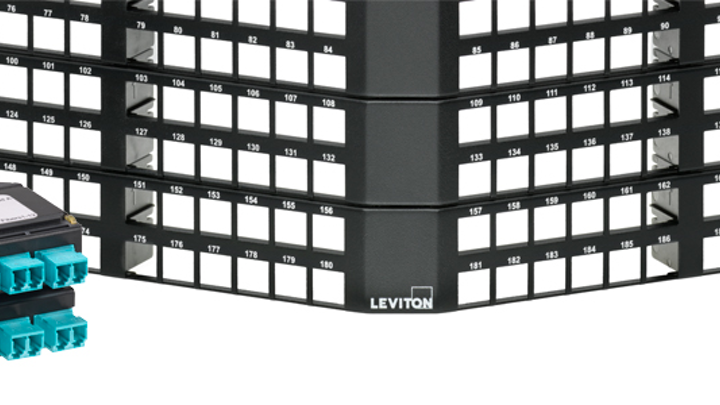 Leviton's flat and angled 1RU fiber, UTP panels now support shielded Cat 8 connectivity