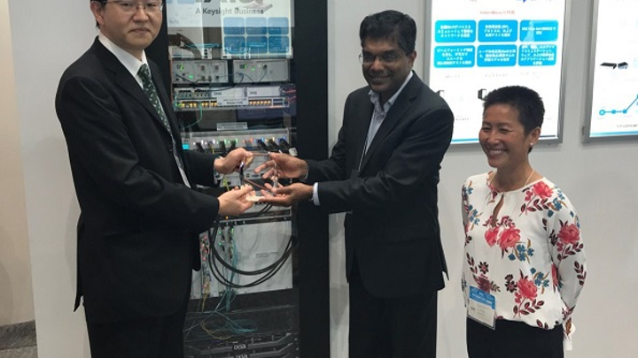 Awarded at Interop Tokyo 2018, Ixia's AresONE-400GE test system handles aggregate Ethernet traffic of 3.2 Tbps