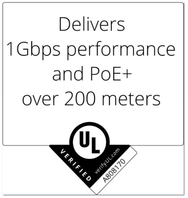 UL verifies GameChanger cable's 200-meter 1-Gig, PoE Plus