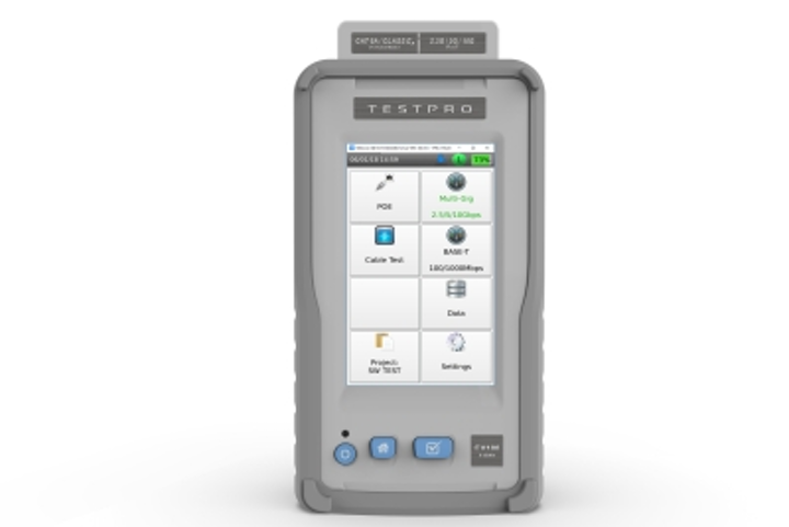AEM's TestPro Multifunction Cable Tester is ETL-certified to Level 2G accuracy. The tester performs a six-second Category 6A certification test, qualifies multi-gig speeds up to 10G, and verifies loaded PoE up to 90W.