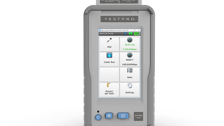 AEM's TestPro CV100 multi-function cable tester approved to certify cabling systems from top manufacturers
