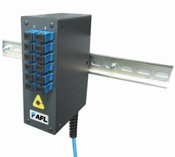 AFL's Mini DIN Rail Mounted Enclosure houses and protects up to 24 fibers that can be connectorized or fusion-spliced. The enclosure can accommodate cable entry from the bottom (shown) or top.