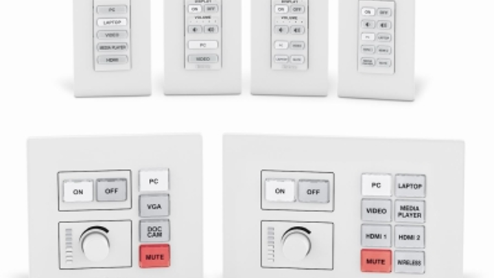 Extron offers Ethernet-connected, customizable AV control capabilities through its NBP Series Network Button Panels. The panels are Power over Ethernet-enabled.