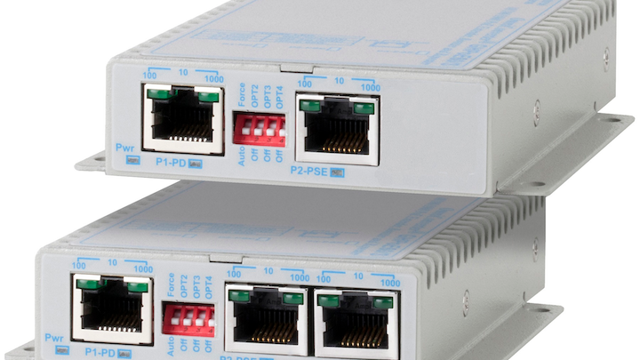 The OmniConverter PoE Extenders from Omnitron Systems, which are available in 30W and 60W models, can be daisy-chained to deliver Ethernet data and PoE to distances up to 800 meters.