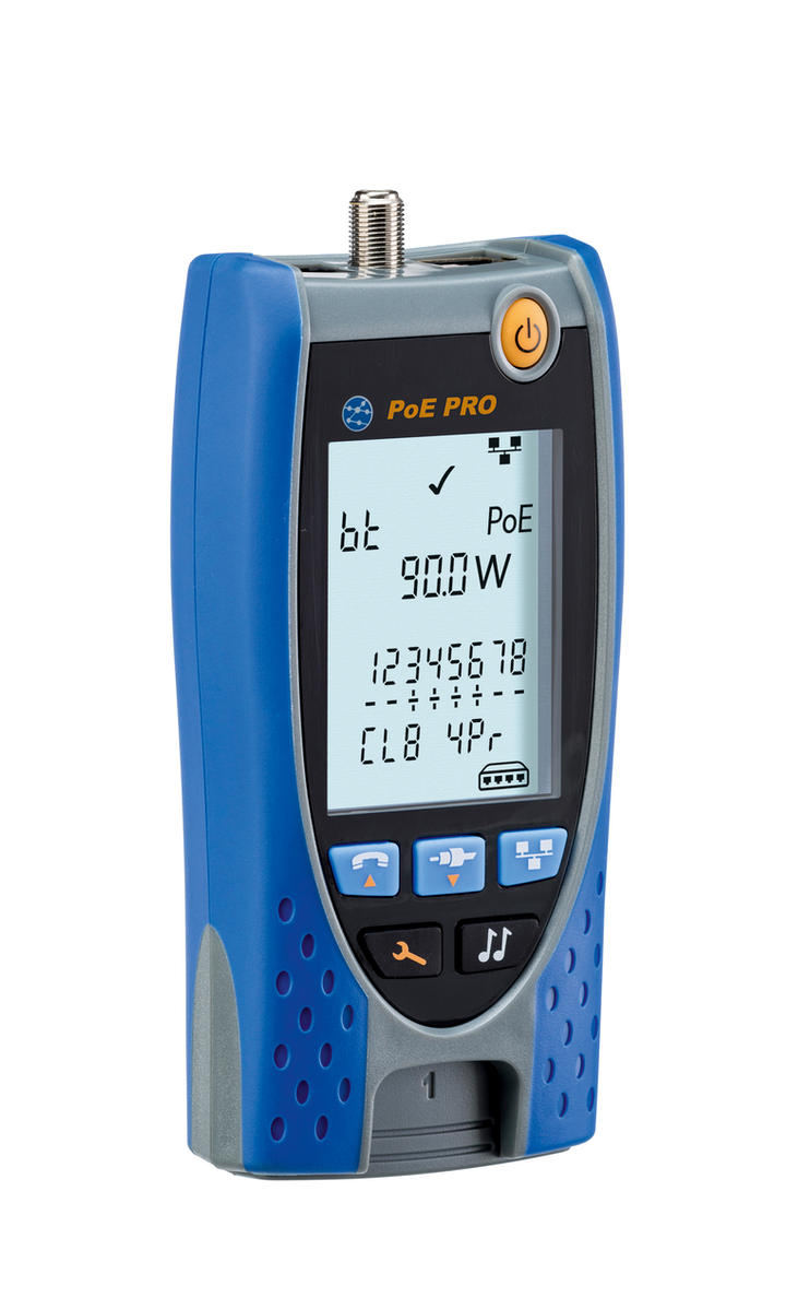 The PoE Pro from Ideal Networks tests and reports PoE Class, voltage/voltage drop, watts, and injector type.