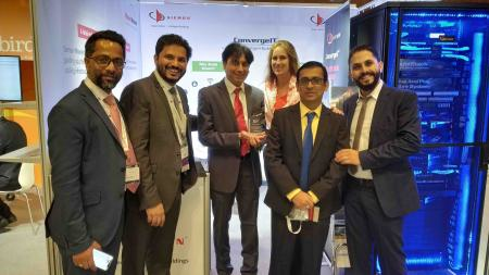 The Siemon team at BICSI MEA, including Prem Rodrigues, Sales and Marketing Director for Middle East, India and SAARC (second from left); and Valerie Maguire, Director of Standards and Technology.