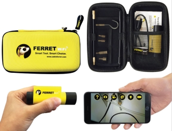 The Cable Ferret Company's Ferret WiFi is a multipurpose tool that serves as a wireless inspection camera and cable-pulling tool.