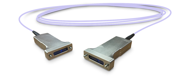 The SAOC takes a standard copper signal and translates it to a fiber optical signal within the connector body.