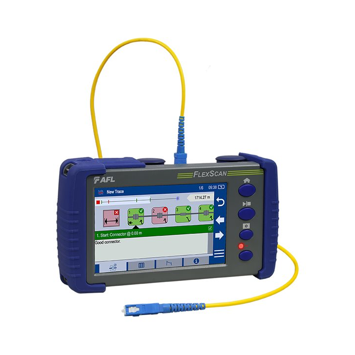 In addition to new multimode test capability, AFL says the FS300-325 OTDR enhances the FlexScan line's ease-of-use with a larger, higher-resolution (800x480) gesture-recognition touchscreen display.