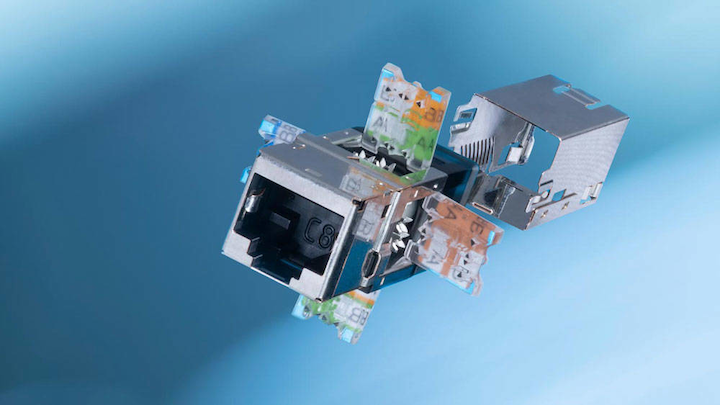 New Cat. 8.1 connection module is based on the award-winning design of R&M's Cat. 6A module.