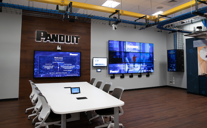The Panduit Experience Center now features a 9-screen video wall and other products and technology from Atlona, the AV manufacturer Panduit acquired earlier this year.